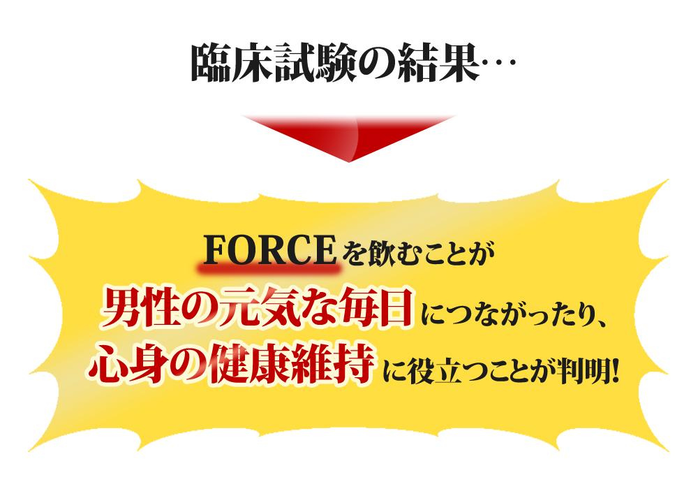 FORCEを飲むことが男性の元気な毎日につながったり、心身の健康維持に役立つことが判明!